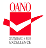 Oano logo - red and white checkmark going across a red box